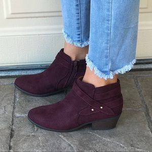 Burgundy Marigold Mauve Perforated Ankle Booties